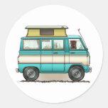 Pop Top Van Camper Round Stickers