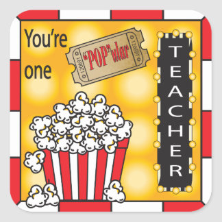 """POP""ular Teacher Square Sticker"