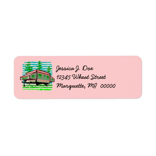 Pop-up Camper Camping Glamping Address Labels