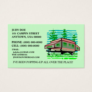 POP-UP CAMPER TRAILER CONTACT OR BUSINESS CARDS! BUSINESS CARD
