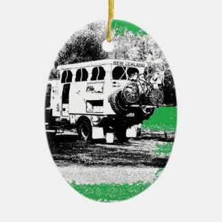 Pop Up RV on Green Ceramic Ornament