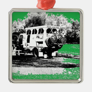 Pop Up RV on Green Metal Ornament