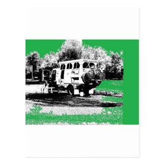 Pop Up RV on Green Postcard