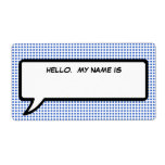 "Pop Word Bubble ""Hello My Name Is"" Tag Label"