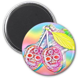 PopArt Cherry Funny Skulls Magnet