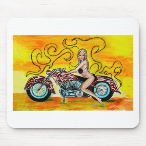 Popart Girl on a Motorcycle Mouse Pads