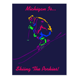 Popart Skier Ski Skiing Skier's Gifts Gift Design Post Cards