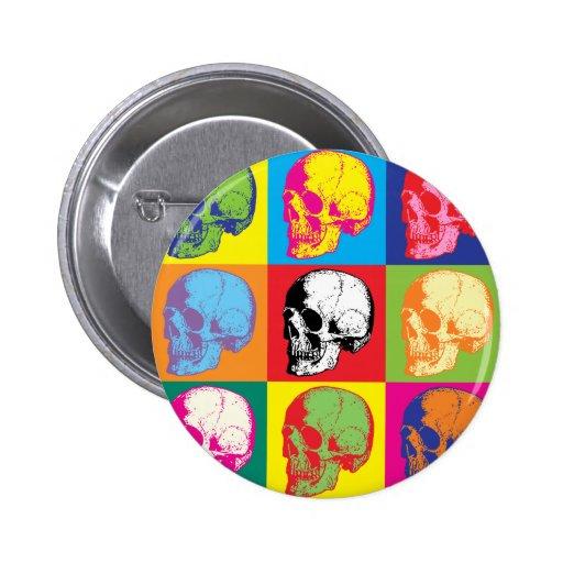 Popart skulls pinback button