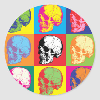 Popart skulls classic round sticker