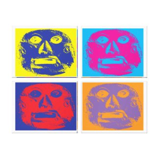 Popart style Mayan mask Canvas Print