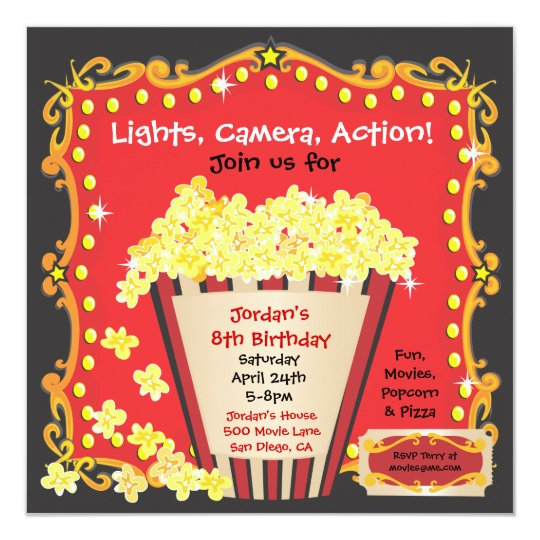 popcorn and a movie birthday party invitation. Black Bedroom Furniture Sets. Home Design Ideas