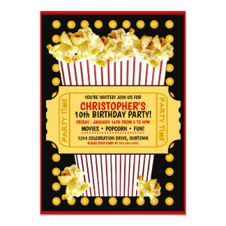 popcorn and a movie birthday party invitation - Movie Birthday Party Invitations