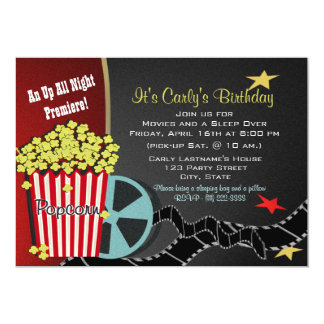 Popcorn and a Movie Sleep over 5x7 Paper Invitation Card