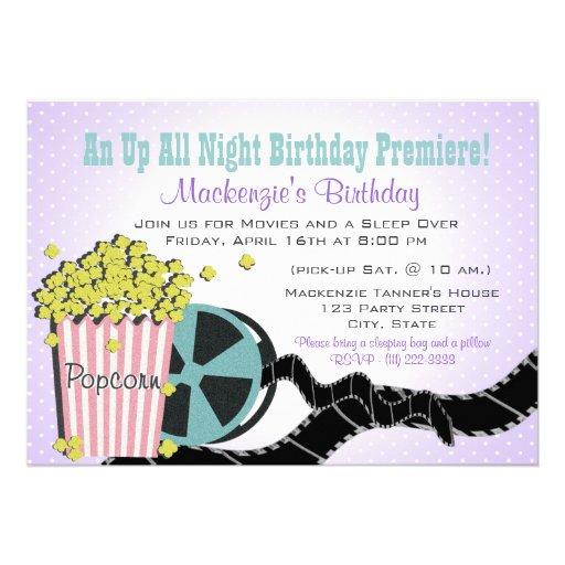 Popcorn and a Movie Sleepover Purple Custom Invitation