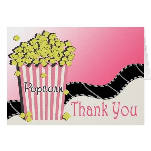 Popcorn and Movie Thank You Card | Zazzle