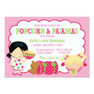 Popcorn and Pajamas Sleepover Party 5x7 Paper Invitation Card