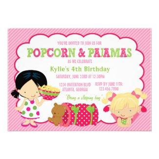 Popcorn and Pajamas Sleepover Party Custom Invites