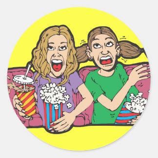 Popcorn at the Movies Classic Round Sticker