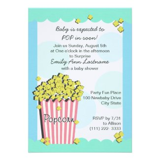 Popcorn Baby Shower Custom Invite
