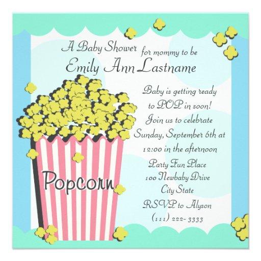 popcorn baby shower square paper invitation card zazzle