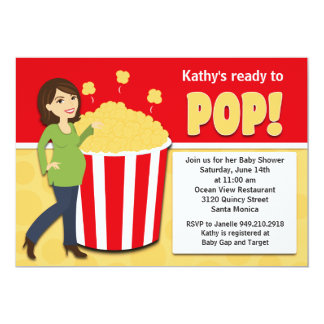 "Popcorn Baby Shower Invitation 5"" X 7"" Invitation Card"