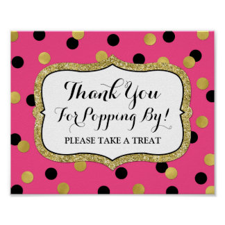 Popcorn Bar Sign Pink Black Gold Confetti