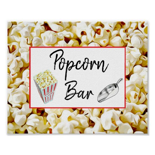 Popcorn Bar Wedding Or Baby Shower Sign Poster Zazzle