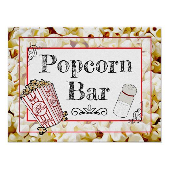 Popcorn Bar Wedding Or Baby Shower Sign Poster Zazzlecom