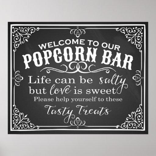 Popcorn Bar wedding sign elegant chalkboard Poster