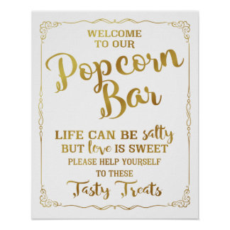 Popcorn Bar wedding sign elegant gold