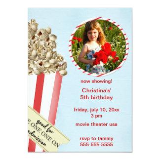 "Popcorn Birthday Party Invitation 4.5"" X 6.25"" Invitation Card"