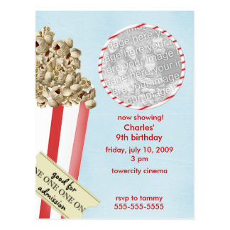 Popcorn Birthday Party Invitation Postcard