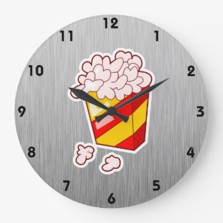 Popcorn; Brushed metal-look Wall Clock