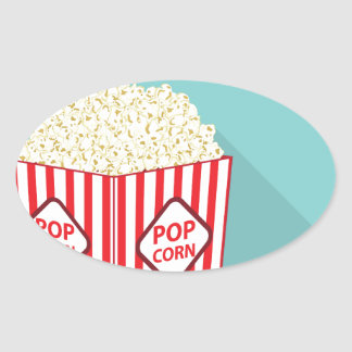 Popcorn bucket oval sticker