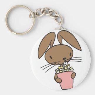 Popcorn Bunny Basic Round Button Keychain