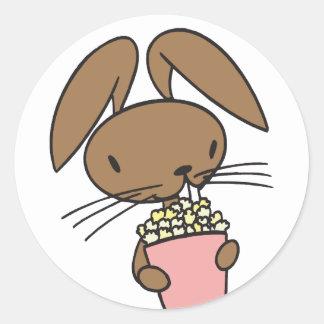 Popcorn Bunny Classic Round Sticker