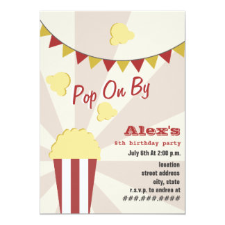 Popcorn Carnival Birthday Party Invitation