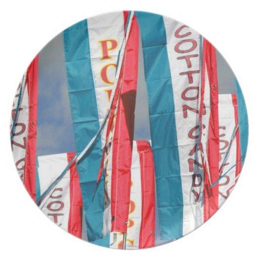 Popcorn Cotton Candy Fair Flags Dinner Plate