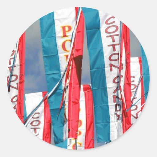 Popcorn Cotton Candy Fair Flags Classic Round Sticker