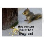 POPCORN EATING SQUIRREL BIRTHDAY GREETING CARD
