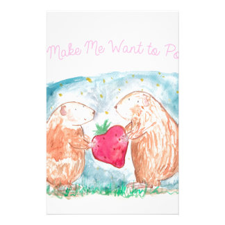Popcorn Guinea Pigs In Love Painting Stationery