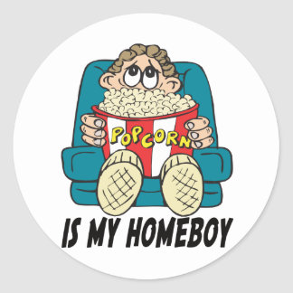 Popcorn is My Homeboy T-shirts Gifts Classic Round Sticker