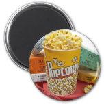 Popcorn & movie tickets magnet