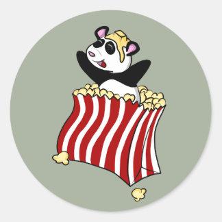 Popcorn Panda! Classic Round Sticker