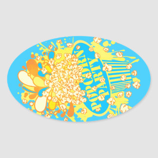 POPCORN_PARTY OVAL STICKER