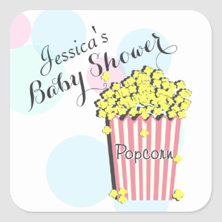 Popcorn Pink Baby Shower Sticker