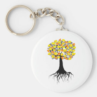 Popcorn Popping on the Apricot Tree Basic Round Button Keychain