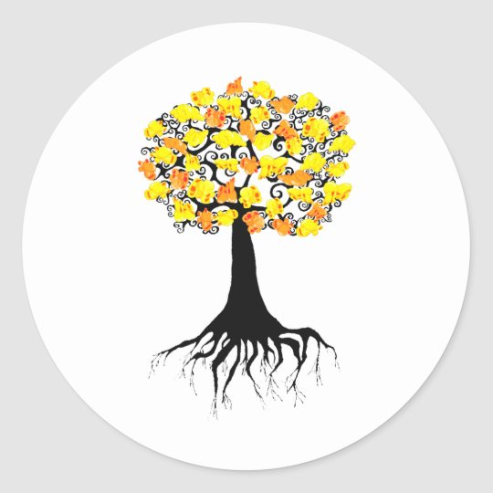 Popcorn Popping on the Apricot Tree Classic Round Sticker