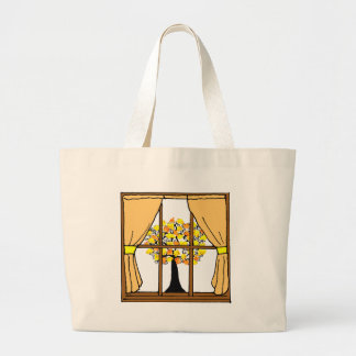 Popcorn Popping on the Apricot Tree Large Tote Bag