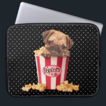 "Popcorn Pug Computer Sleeve<br><div class=""desc"">Cute pug puppy in retro popcorn container with black and white polka dot background,  painted by artist Maryline Cazenave.</div>"